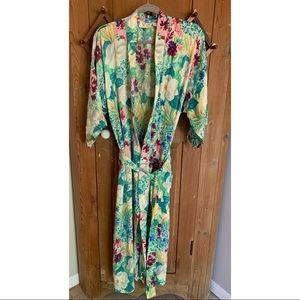 Victoria's Secret green floral belted long silk robe